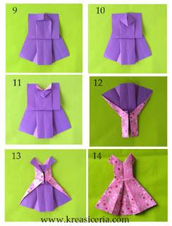 Cara mudah membuat origami baju gaun sampai jadi