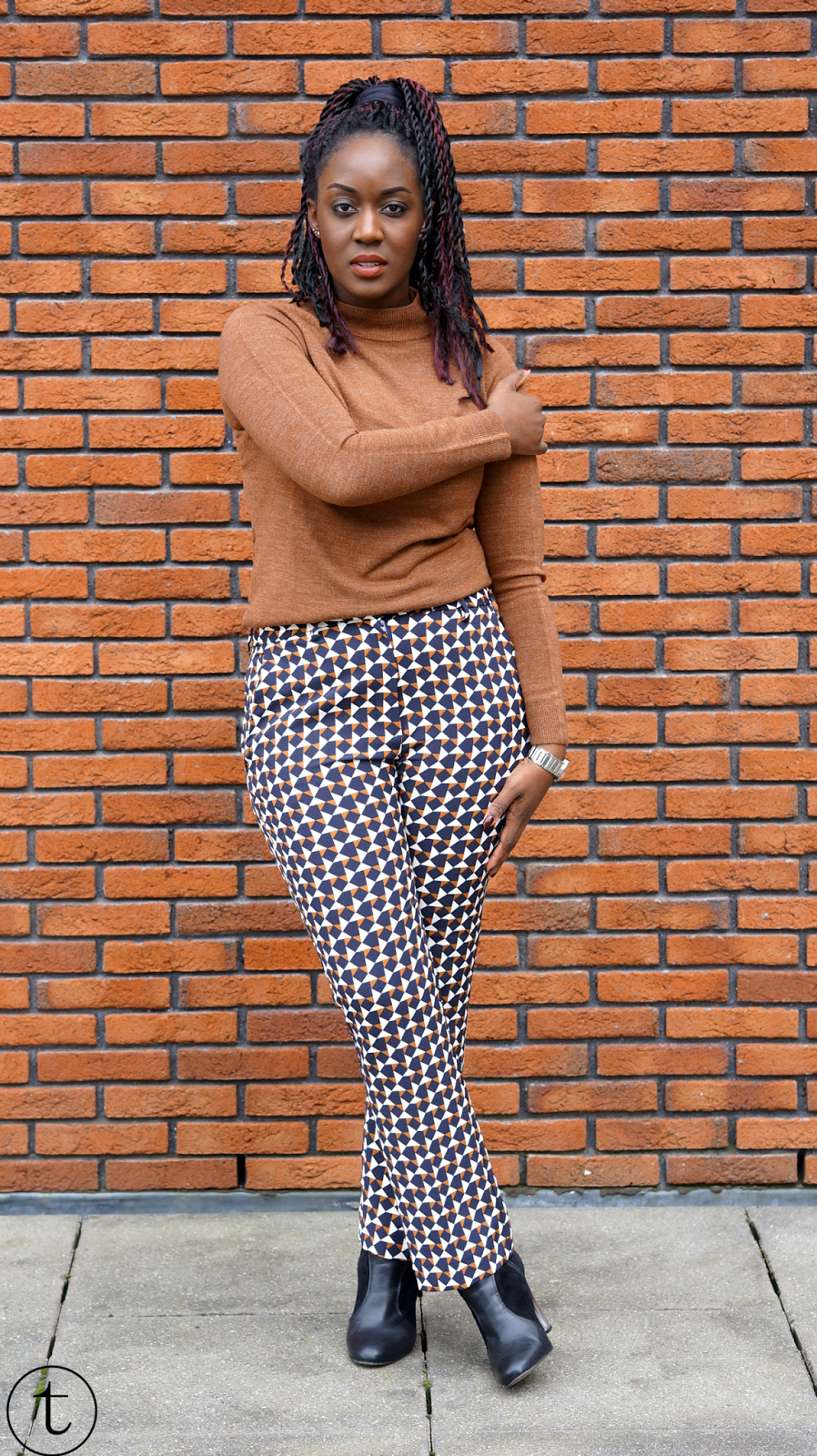 wearing h&m pants with patterns outfit post it's true blog