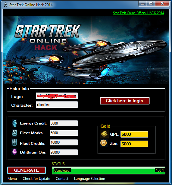 Add free Credits to Star Trek Online Game