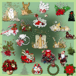 Christmas greeting card decor elements