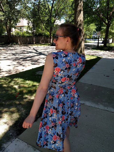 Full-length view of me in my wrap dress, showing the back of the dress.