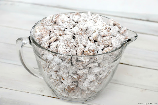Valentine's Day Cupid Chow muddy buddies treat recipe from Served Up With Love