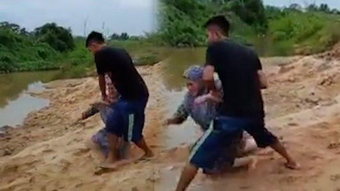 Viral!!! Seorang Anak Ceburin Ibu Kandungnya Ke Sungai, Diduga Tidak Dikasih Membeli Motor