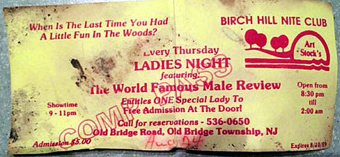 The Birch Hill Night Club free pass 1989