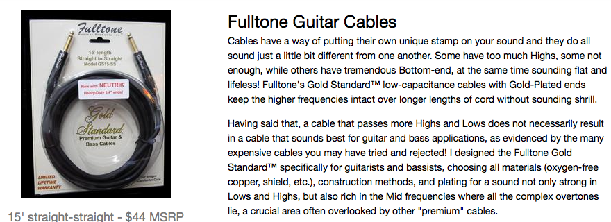 Fulltone cable lies
