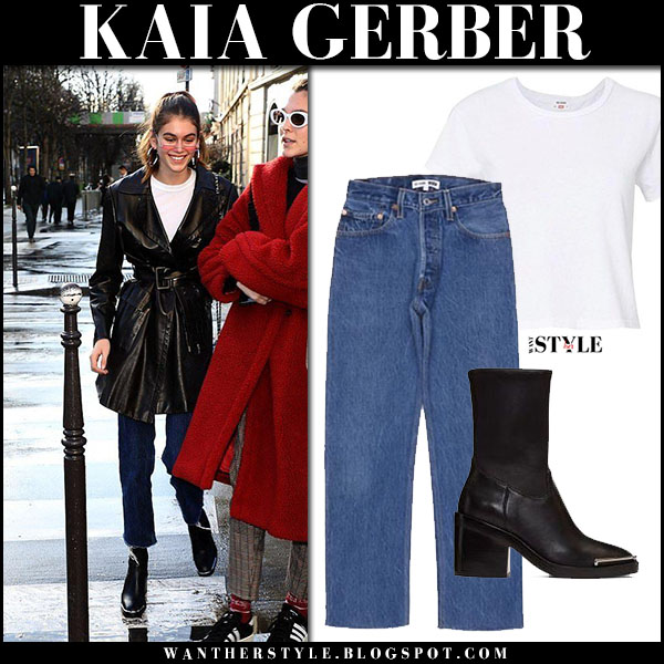 Kaia Gerber in black leather coat, jeans and black ankle boots alexander wang model paris street style january 19
