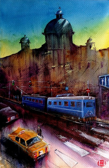 City Scape - XIII, painting by Ivan Gomes (part of her portfolio on www.indiaart.com)
