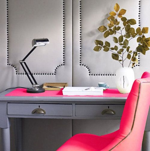 awesome modern grey and neon pink home office
