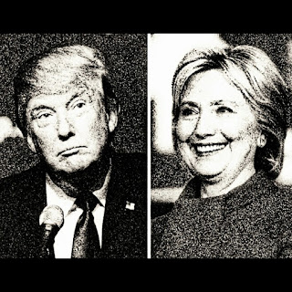 Hillary Clinton and Donald Trump in Monochrome.