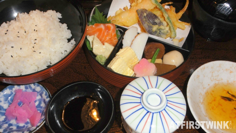 Kyoto lunch set chawanmushi steamed egg rice tempura sashimi tofu skin simmered vegetables
