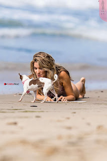 Rachel McCord In Swimsuit seen on the beach with her dog 032 ~ Celebs.in Exclusive