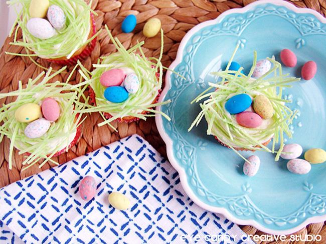 birds nest cupcakes, easter, edible easter grass, chocolate bird eggs