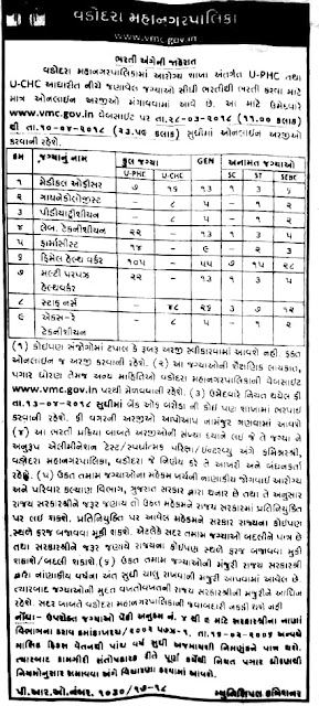 Vadodara Municipal Corporation (VMC) has published Advertisement for below mentioned Posts 2018. Other details like age limit, educational qualification, selection process, application fee and how toapply are given below.Sponsored AdsPosts:.Medical Officer: 23 Posts.Gynaecologist: 08 Posts*.Paediatrician: 08 Posts*.Lab Technician: 22 Posts*.Pharmacist: 14 Posts*.Female Health Worker: 105 Posts*.Multi-Purpose Health Worker (MPHW): 22 Posts*.Staff Nurse: 48 Posts*.X-Ray Technician: 08 PostsTotal No. of Posts: 258 PostsEducational Qualification: Please read Official Notification for Educational Qualification details.Selection Process:Candidates will be selected based on an interview.How to Apply:Interested Candidates may Apply Online Through officialWebsite.Advertisement:Click HereApply Online:Click HereImportant Dates:Starting Date of Online Application: 28-03-2018Last Date to Apply Online: 10-04-2018Click on below Image to View Larger
