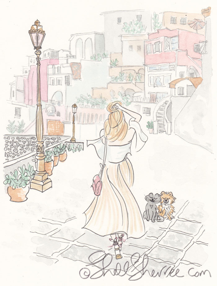 Fashion Illustration Promenade in Procida © Shell-Sherree