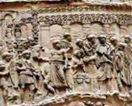 """""""Релеф от Траяновата колона в Рим, 113 г. - имп. Траян извършва жертвоприношение пред новия мост на Дунава."""""""