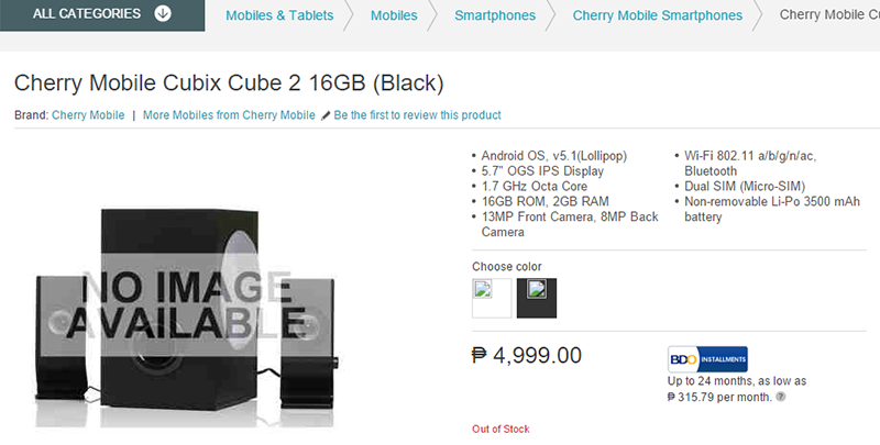 Cherry Mobile Cubix 2 Listing Spotted At Lazada, Comes With 5.7 Inch FHD, 2 GB RAM And 3500 mAh Battery For 4999 Pesos!