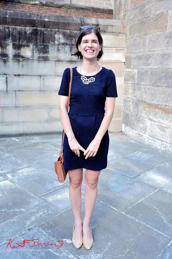 Navy dress, gold geometric necklace, NAS opening - Darlinghurst Sydney