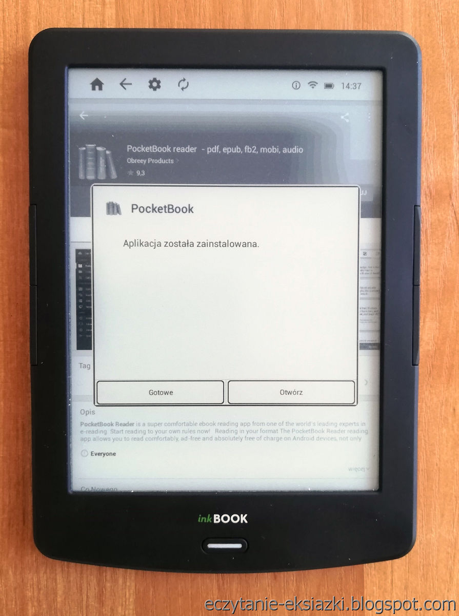 InkBOOK LUMOS – komunikat o zainstalowaniu aplikacji PocketBook Reader