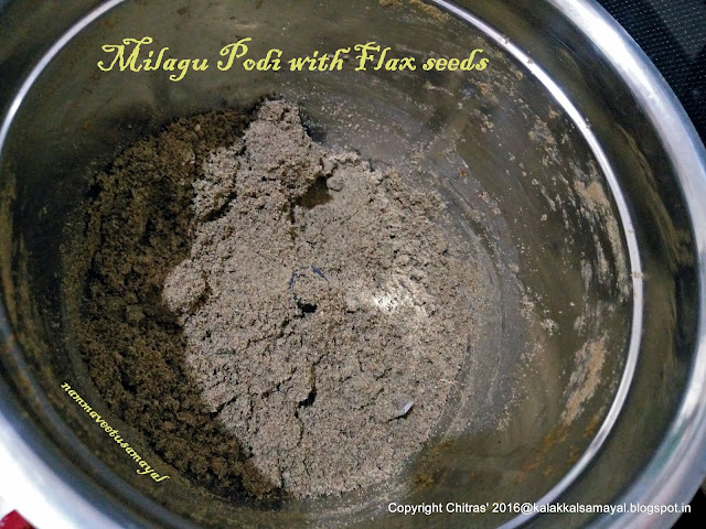 Milagu podi with flax seed