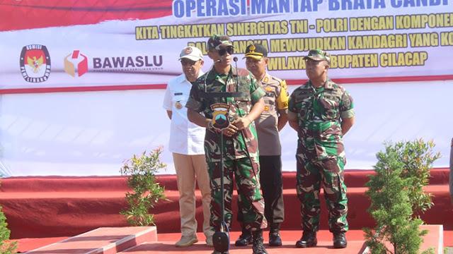 Arahan Dandim Cilacap Pada Apel Gelar Pasukan Pengamanan Jelang Pemilu 2019