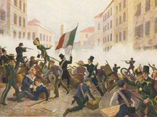 A painting by an unknown artist that shows fighting between Austrian troops and Milanese citizens