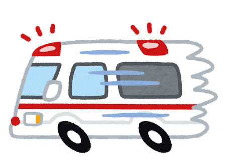 急ぐ救急車のイラスト