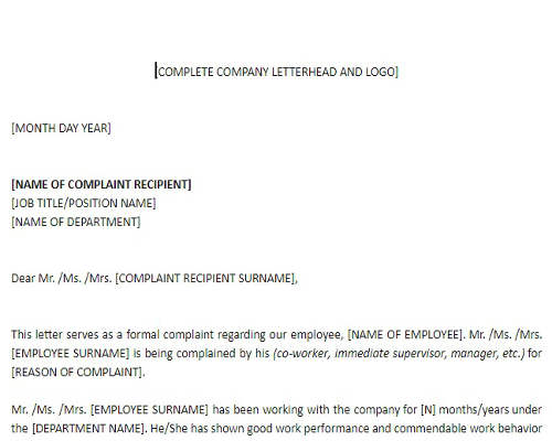 Complaint Letter Against Employee