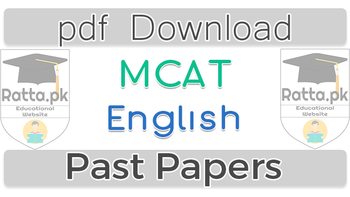 MCAT English Past Papers 2016 pdf Download