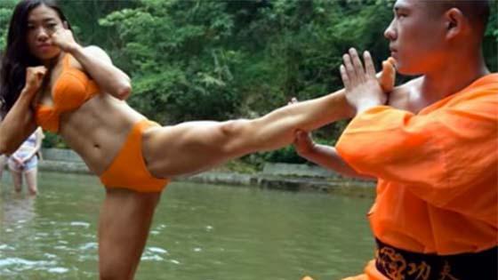 Sami Shaolin Latih Wanita Berbikini Jadi Penyelamat