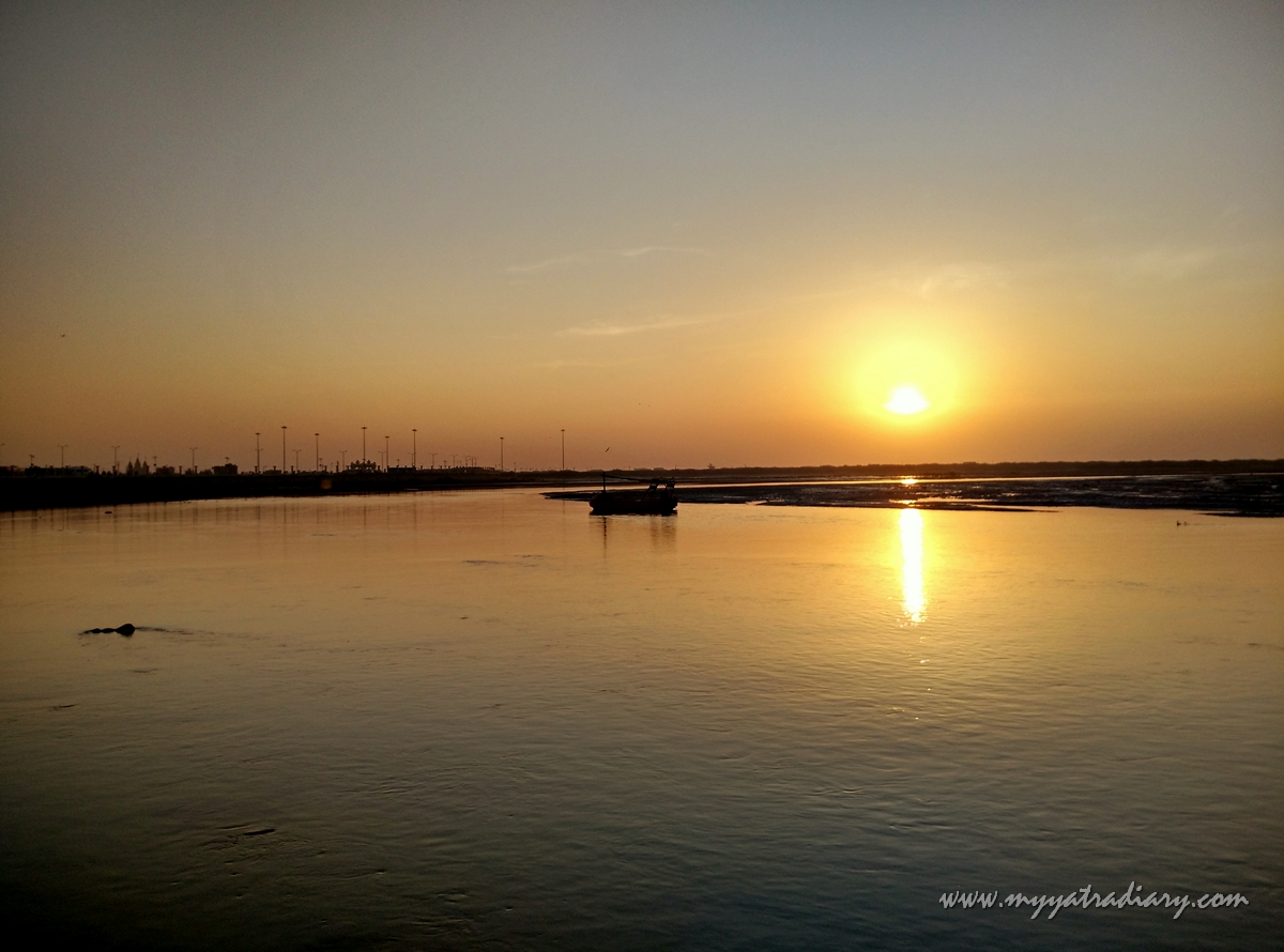 Sunrise over Mother River Gomti, Dwarka, Gujarat