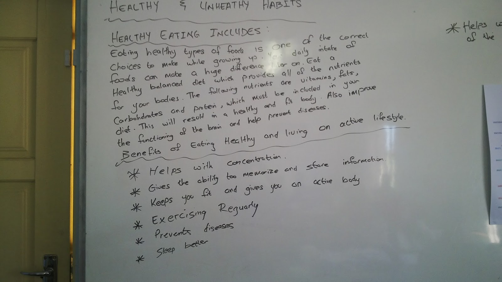 Healthy and Unhealthy habits   lesson plan Three examples of multimedia used during the lesson  Resources  White board  lesson