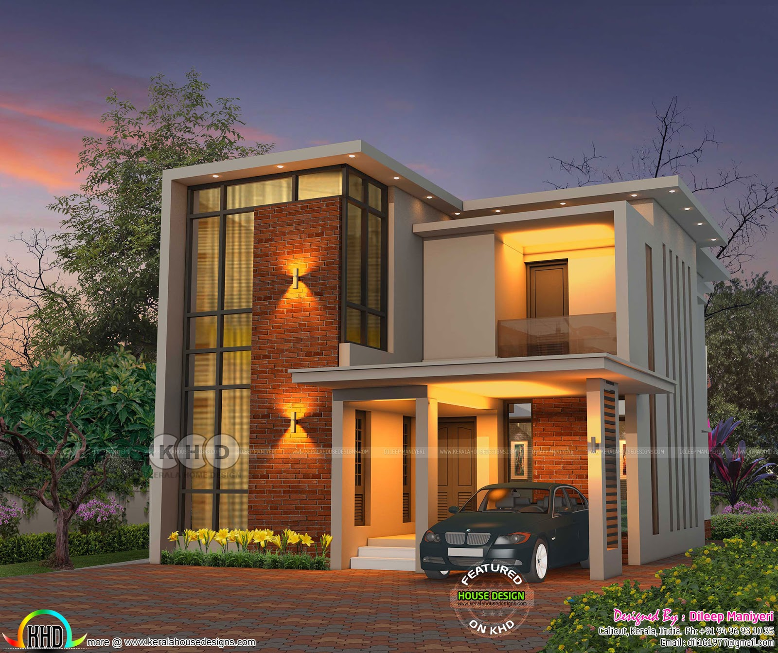 1917 sq-ft 3 bedroom flat roof contemporary house - Kerala ...