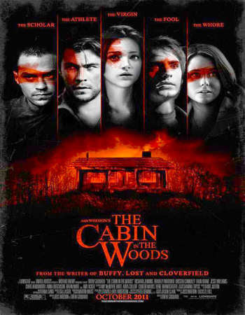 Poster Of The Cabin in the Woods In Dual Audio Hindi English 300MB Compressed Small Size Pc Movie Free Download Only At worldfree4u.com