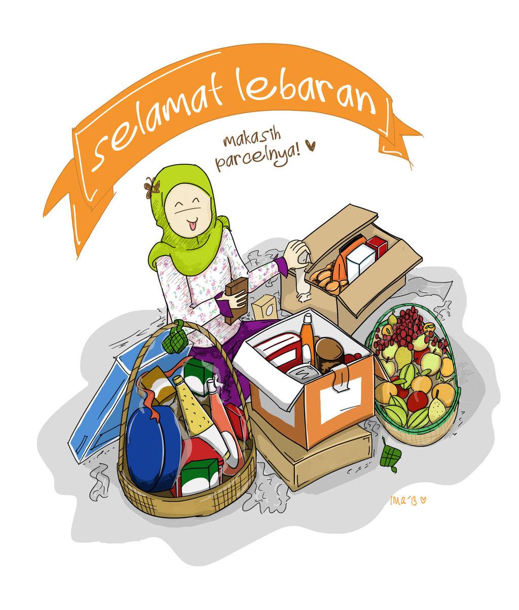 Gambar Kartun Lucu: Kartu Ucapan Selamat Idul Fitri Lebaran