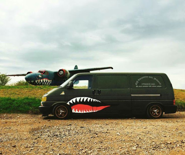 Lowered LWB VW T4 Transporter with sharktooth motif.