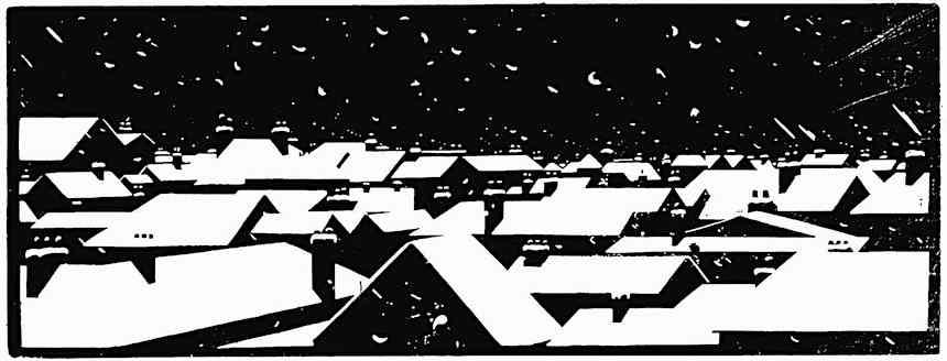 Robert Gibbings art, a 1919 town at night in winter