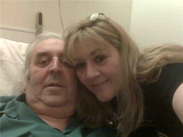 Julie with her dad George in a hospice
