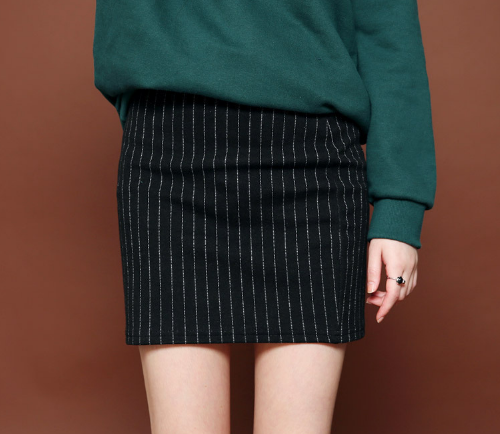 Pinstriped H-Line Skirt