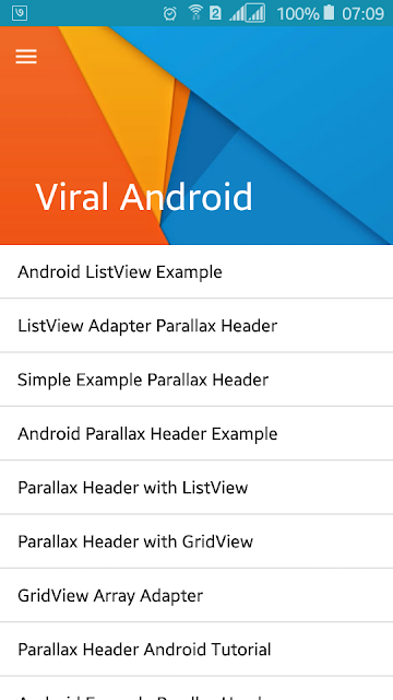 Parallax Header with Android ListView Example | Viral
