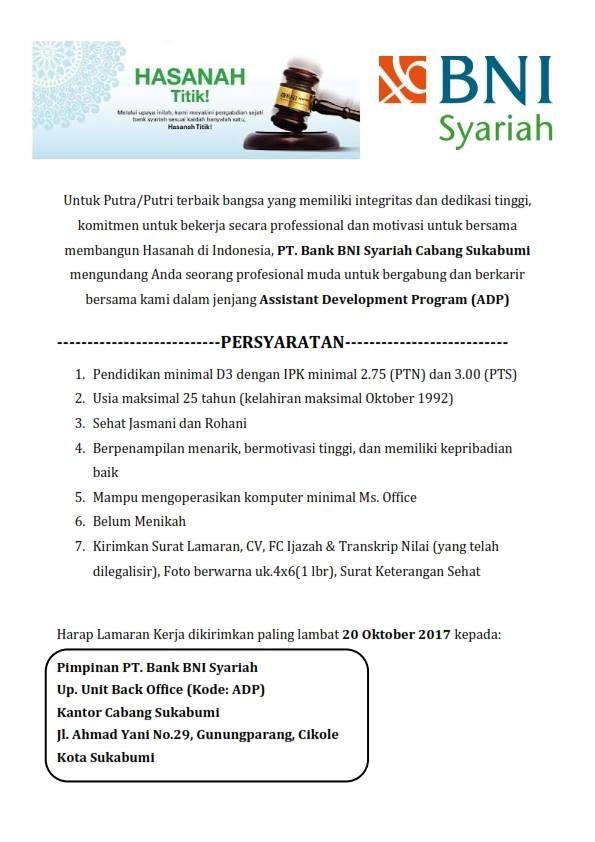 PT Bank BNI Syariah - Assistant Development Program BNI
