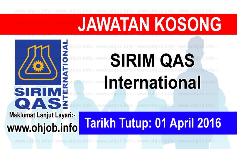 Jawatan Kerja Kosong SIRIM QAS International logo www.ohjob.info april 2016