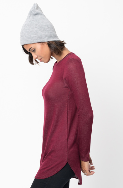 Shop for Burdgundy Crew Neck Terry Long Sleeved Tunic New Colors $42 on caralase.com