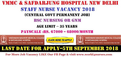 Staff Nurse Vacancy in VMMC & Safdarjung Hospital New Delhi 2018 (Central Govt Permanent Job)
