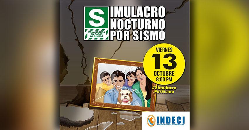 Simulacro Nacional de Sismo se realizará el Viernes 13 de Octubre, informó el INDECI