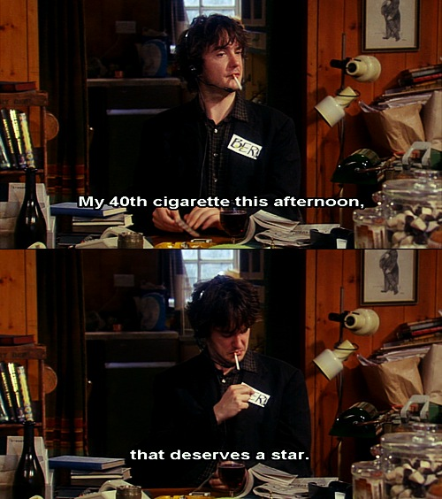 Bernard awards himself a star for smoking