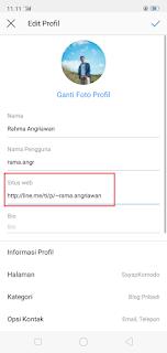 pengaturan profil instagram untuk memasukan link web line