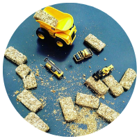 digger tuff tray with weetabix to carry around and destruct