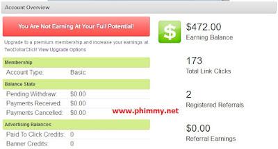 Số tiền kiếm được từ two dollar click