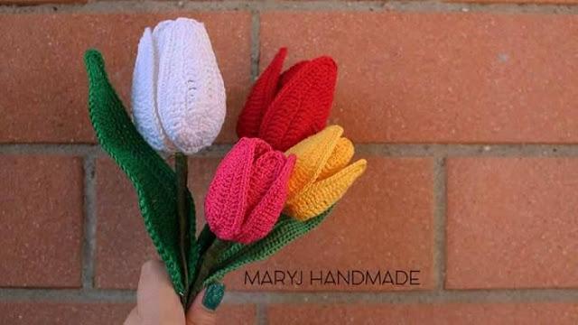 Patrón #1856: Como tejer tulipanes a crochet