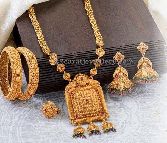 Temple jhumkas Bangles and Long Set